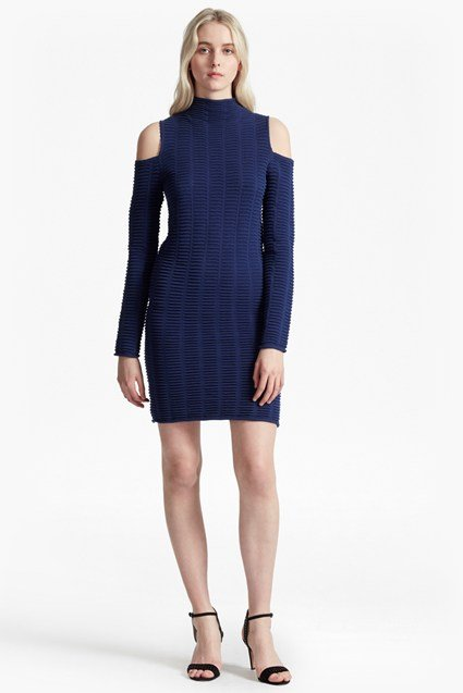 Mozart Ladder Knit Cold Shoulder Dress