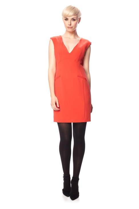 Dylan Crepe V Neck Dress