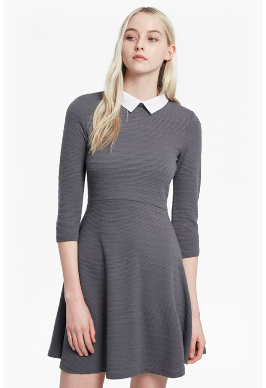 Sudan Shirting Collar Flared Dress