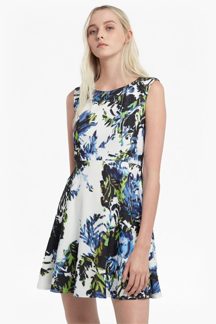 Kiki Palm Flared Crepe Dress