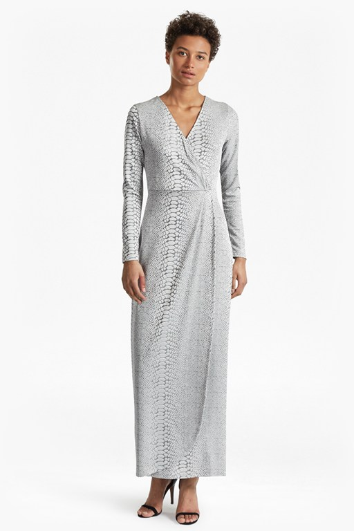 Snake Jacquard Maxi Wrap Dress
