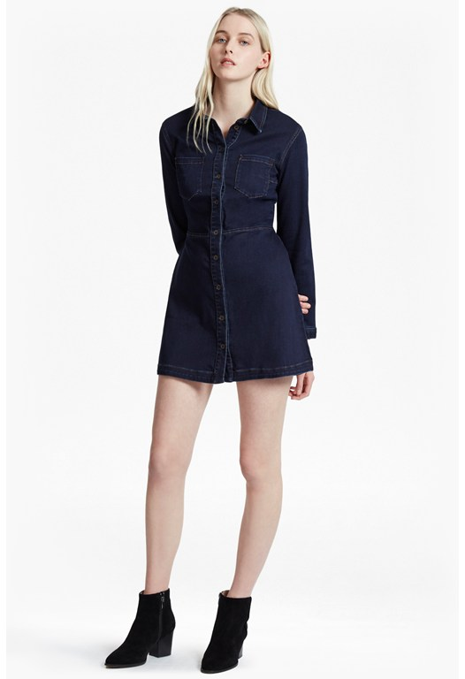 Indigo Snug Denim Shirt Dress