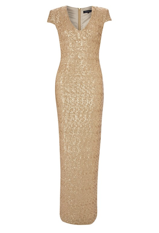 Sequin Maxi Dress Gold