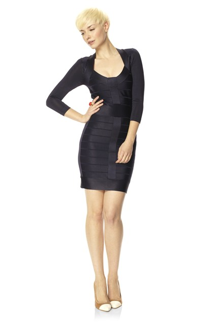 Ribbon Knit Fitted Dress