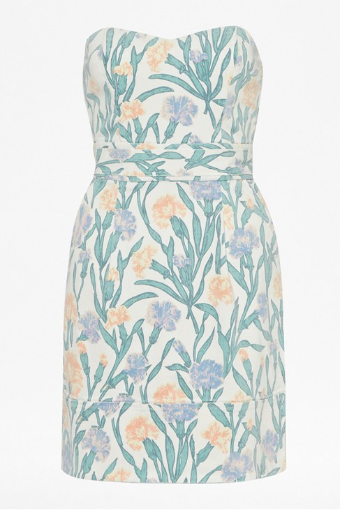 Carnation Denim Floral Print Strapless Dress