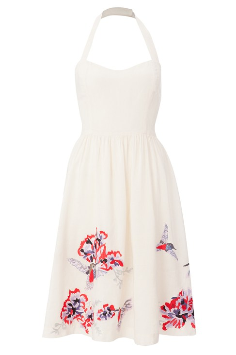 Ebele Daisy Lace Skater Dress In Cream