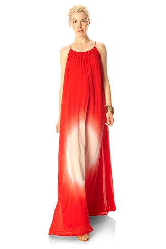 Silk Maxi Dress Red, Blue, Green