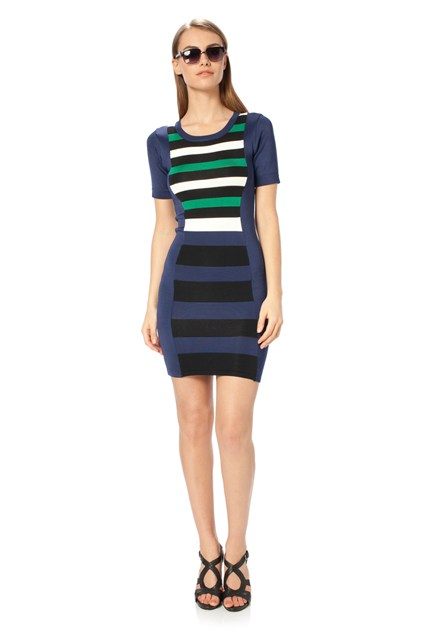 Riley Striped Fitted Dress