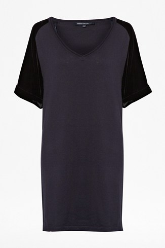 Velvet Knitted V-Neck Dress