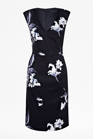 Water Flower Capped Sleeve Dress