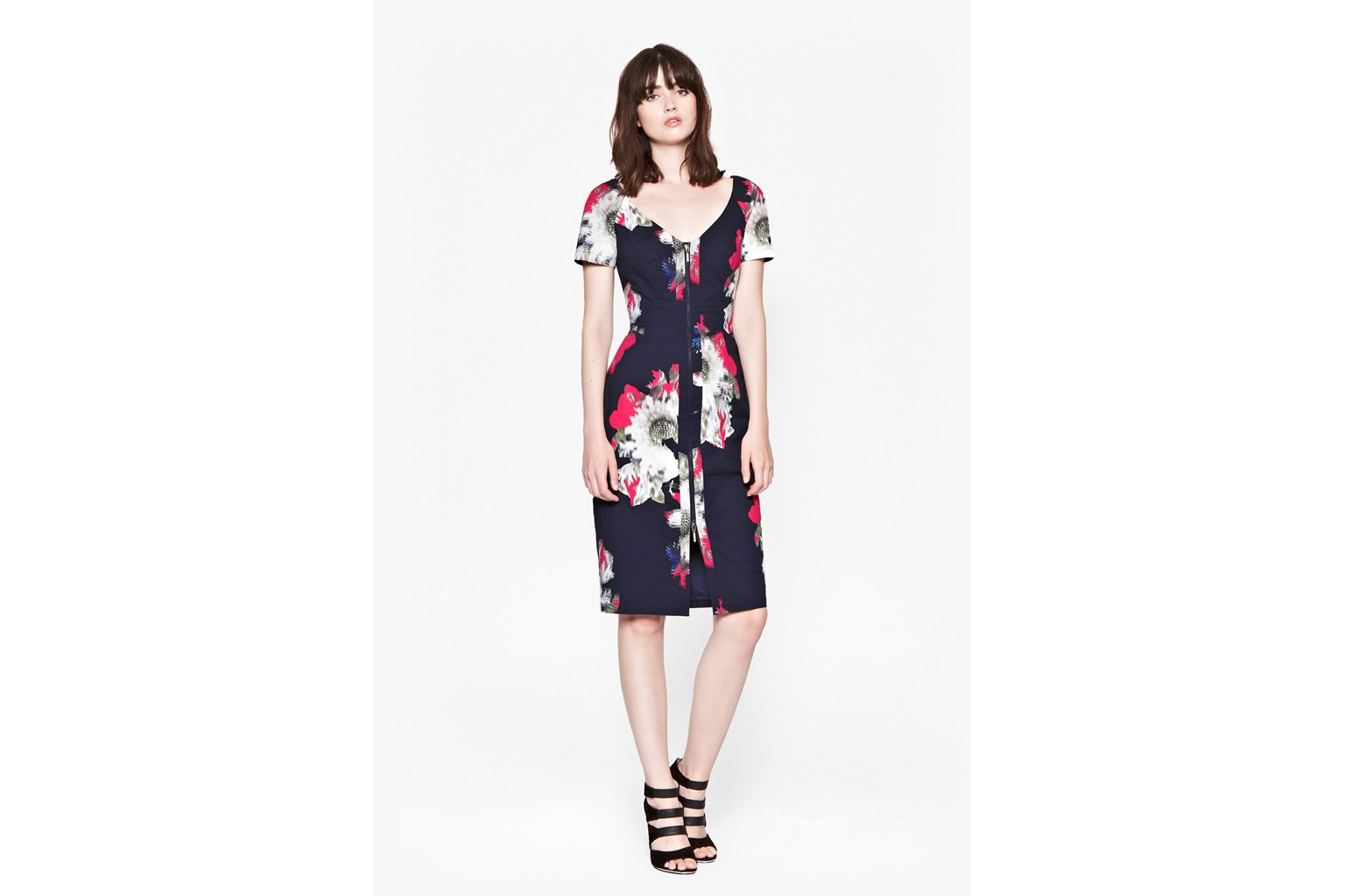Product photo of Wilderness bloom vneck dress utility blue multi