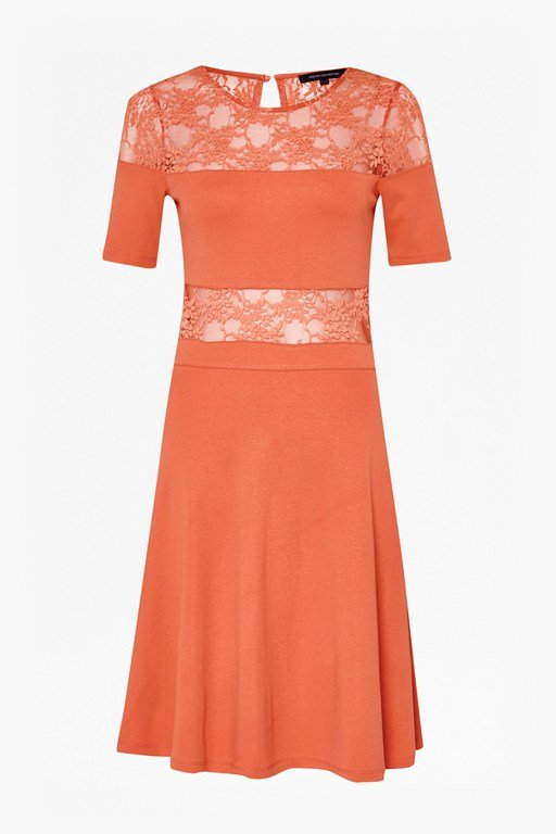 lace-trimmed jersey dress