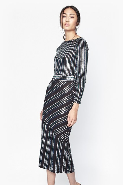 Diana Swirl Sequin Midi Dress