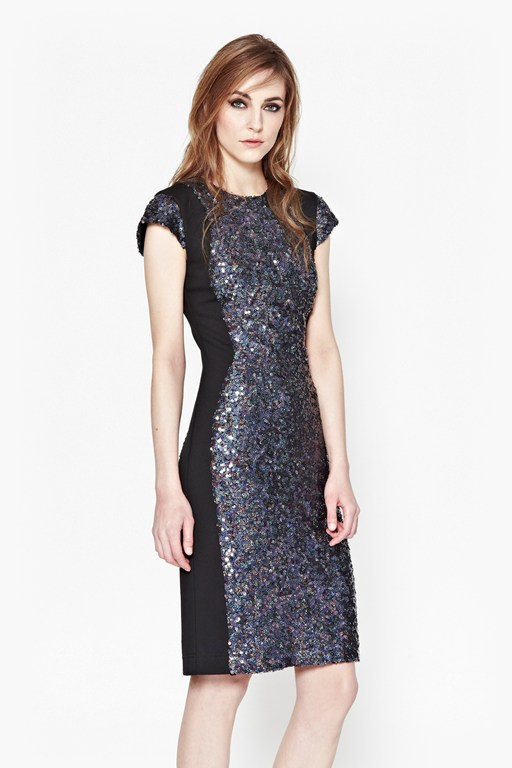 lunar sparkle sequin pencil dress