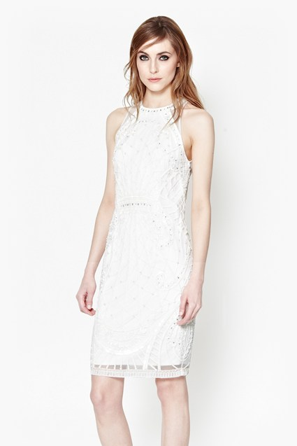 Pearl Embellished Cage Dress