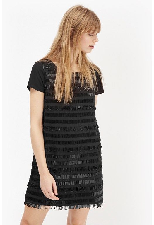 Della Fringe Embellished Dress