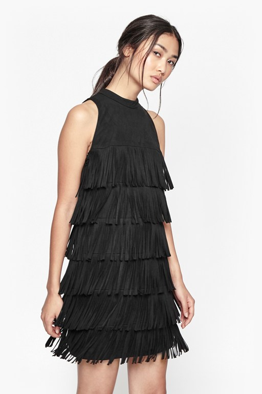 hula fringe faux suede dress