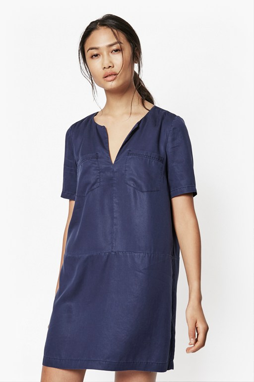 cobalt tencel shift dress