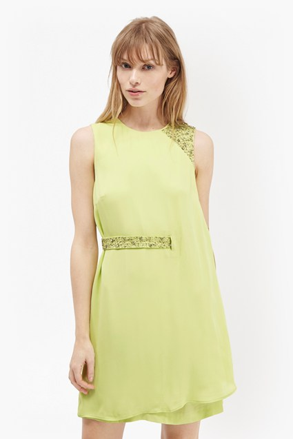 Cecil Drape Embellished Trim Dress