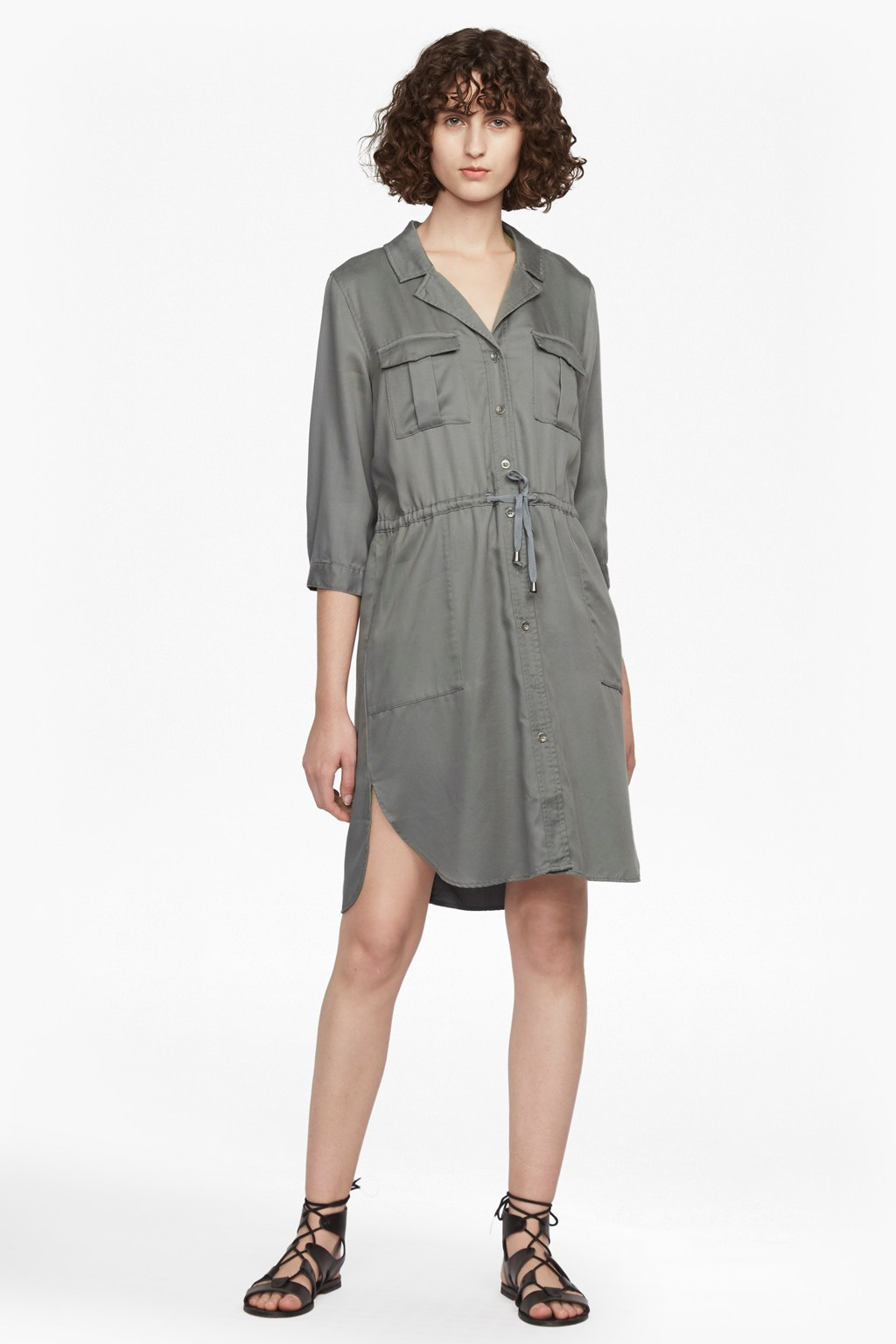 Kruger tencel tie waist shirt dress dresses french for French connection shirt dress