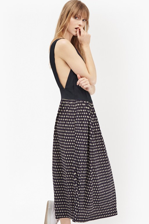 bacongo dot printed apron dress