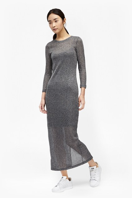 Flicker Rib Metallic Midi Dress