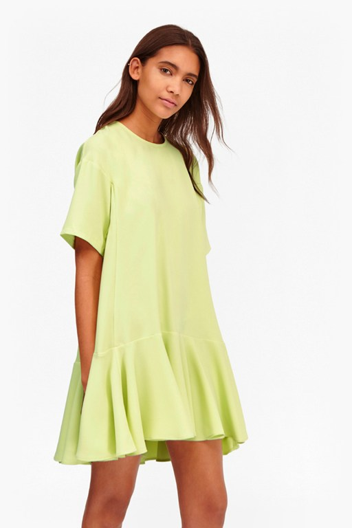 arrow crepe fluted sleeve dress