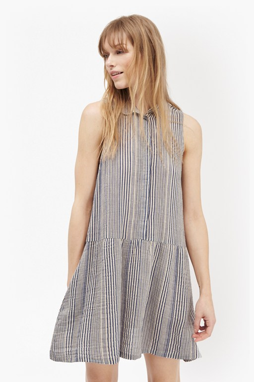 serge stripe sleeveless shirt dress