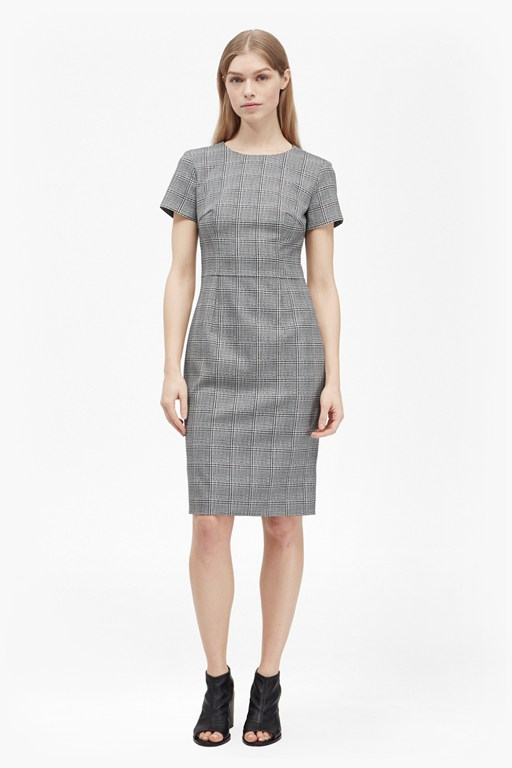 empire check pencil dress