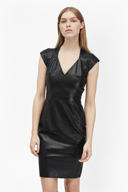 Atlantic Faux Leather Geometric Dress