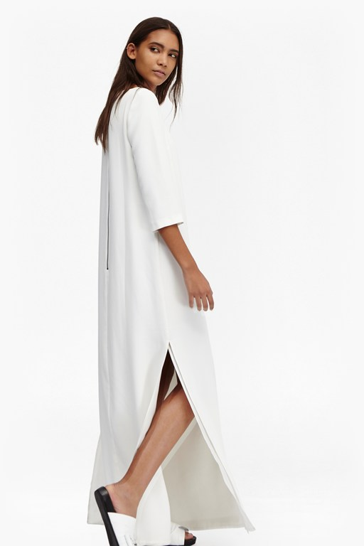 arrow crepe split maxi dress