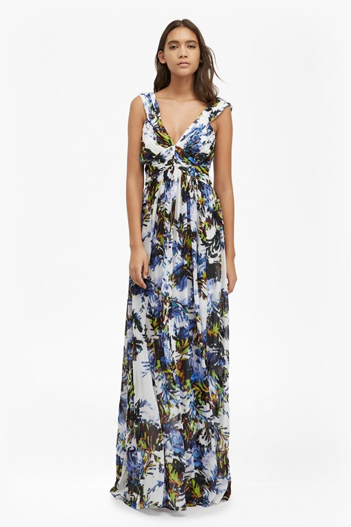 kiki palm ruched maxi dress
