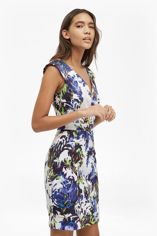kiki palm printed bodycon dress