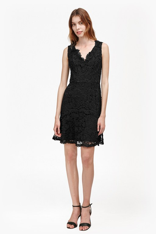 bloomsbury lace peplum hem dress