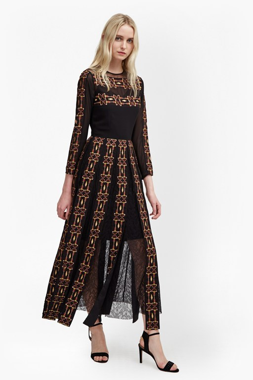prila drape embroidered maxi dress