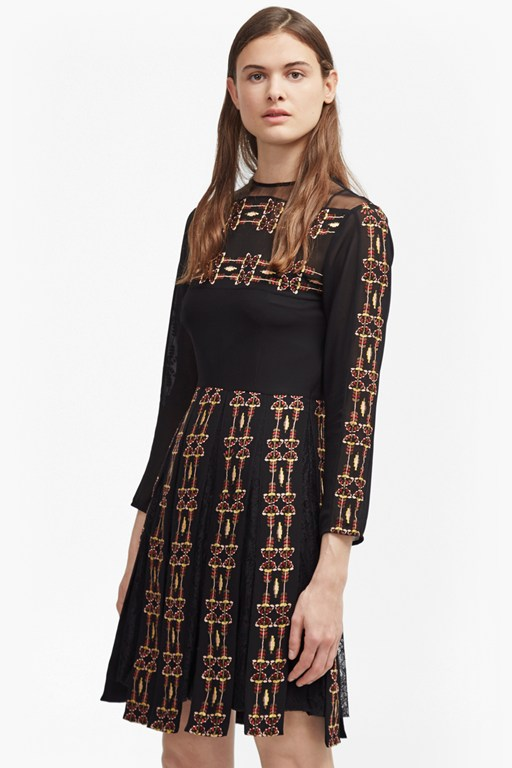 prila drape embroidered dress