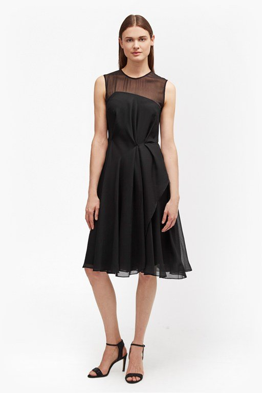 winter ray flared chiffon skater dress