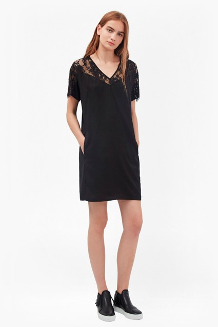 Midnight Lace T-Shirt Dress