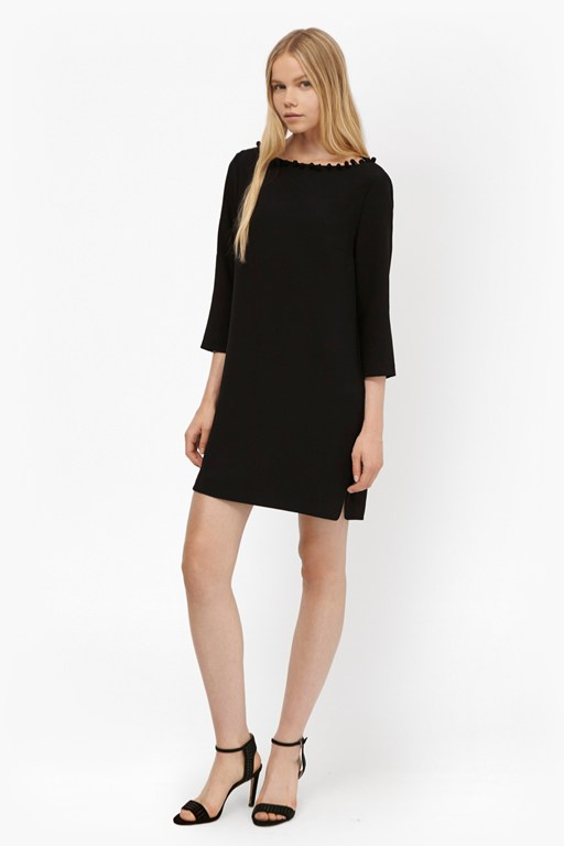 arrow crepe pom pom tunic dress