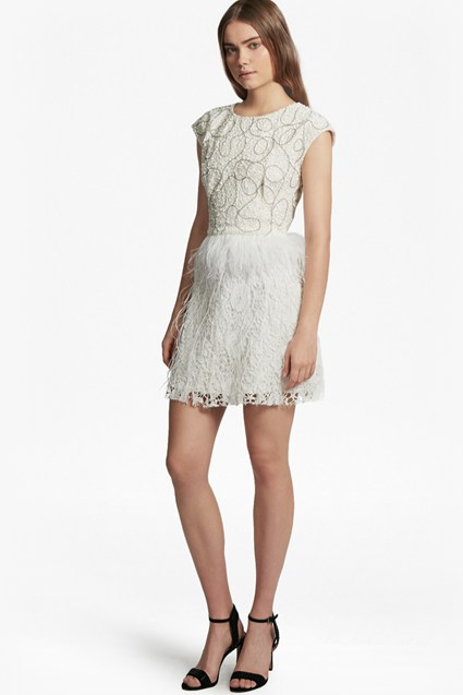 Snow Spell Feather Beaded Dress
