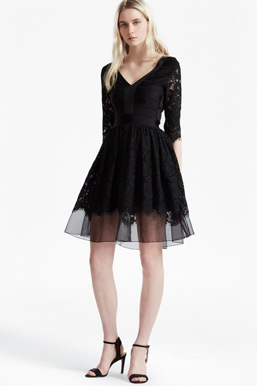 spotlight lace tulle mix dress