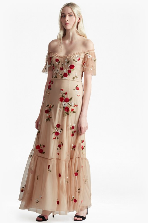 viola stitch floral embroidered maxi dress
