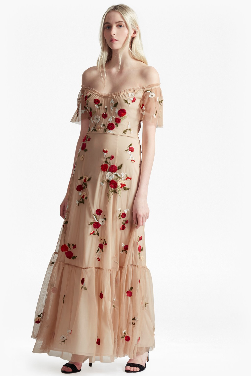 Viola Stitch Floral Embroidered Maxi Dress. loading images.