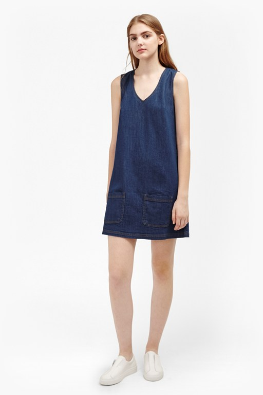 penny denim pinafore dress