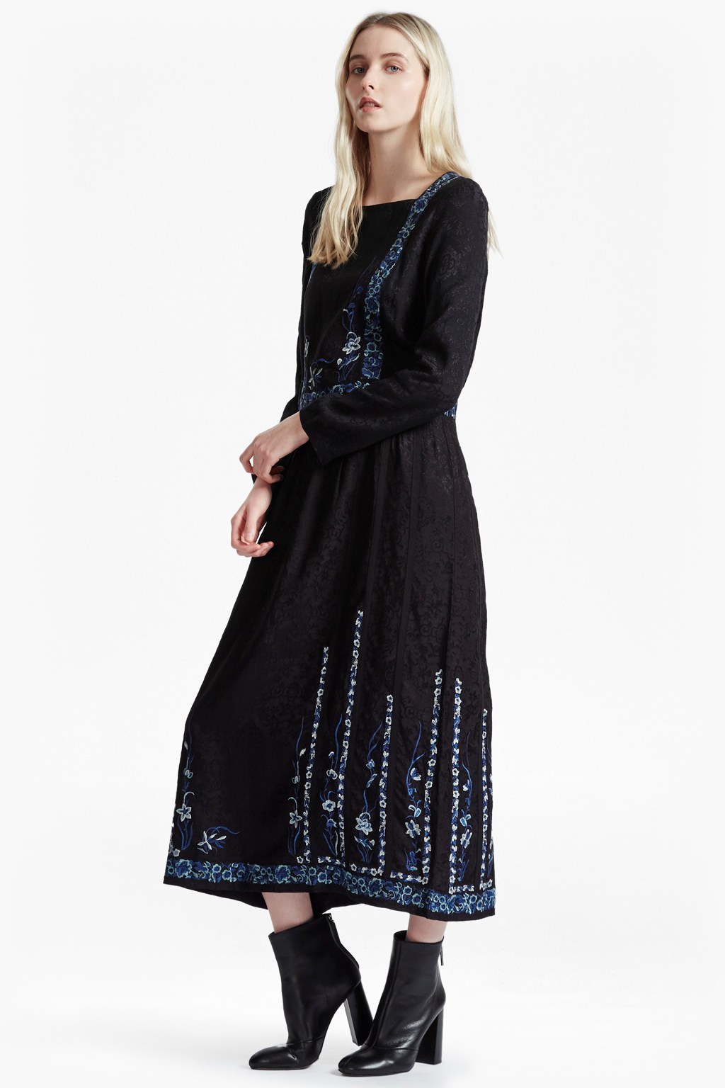 Argento Stitch Floral Embroidered Maxi Dress. loading images.