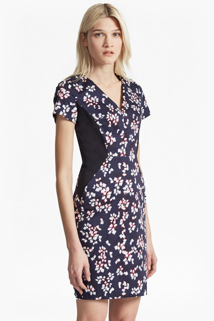 Eva Cotton Leaf Print Dress
