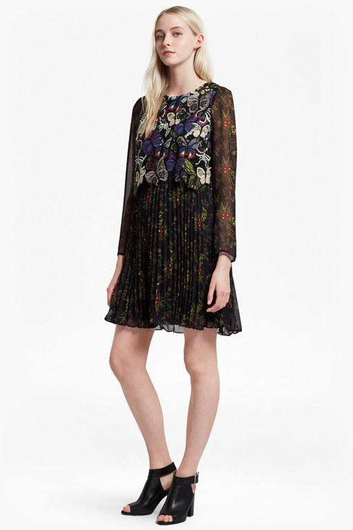 cassatt mix embroidered floral dress