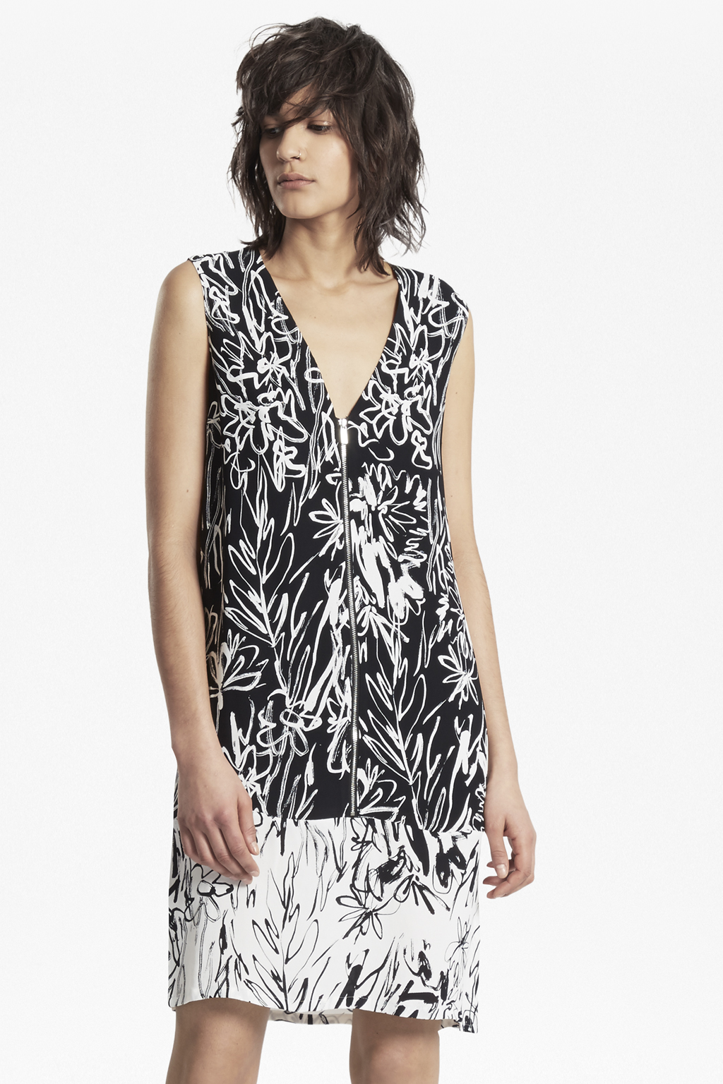 Copley Crepe Print Shift Dress - Black/summer white French Connection bLm9WX2rD