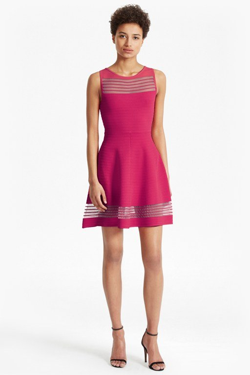 Tobey Crepe Knit Mini Flared Dress