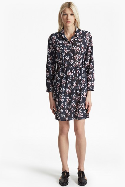 Eva Crepe Leaf Print Shirt Dress